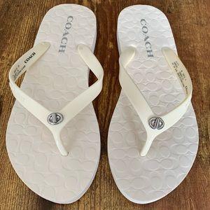 Coach White Abbigail Flip Flops | Size 7